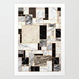 Random Pattern - Black and White Marble Art Print