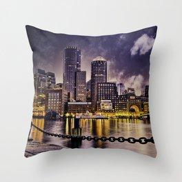 Skyline of Boston Harbor Throw Pillow