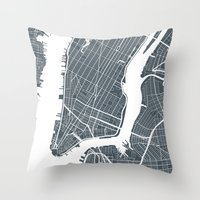 new york map Throw Pillows featuring New York City map by Studio Tesouro