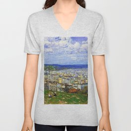 Classical Masterpiece 'View of New York from Fort George' by Frederick Childe Hassam Unisex V-Neck