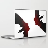 edgar allen poe Laptop & iPad Skins featuring Edgar Allen Poe and the Raven by The Herald Project