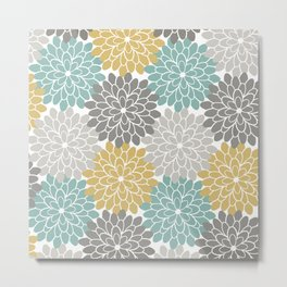 Pastel Petals in Light Amber, Light Opal, Pale and Dark Grey Metal Print