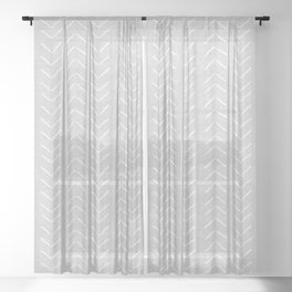 Mudcloth Big Arrows in Grey Sheer Curtain