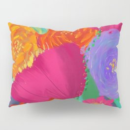 Vibrant Flower Bouquet Oil Painting with Tulips, Lavender and Roses  Pillow Sham