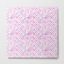 Pink & Purple Marble Mermaid Scales Metal Print