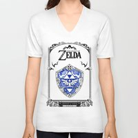 majora V-neck T-shirts featuring Zelda legend - Hylian shield by Art & Be