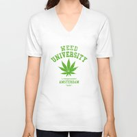 weed V-neck T-shirts featuring Weed University by Nxolab