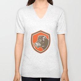Wild Boar Razorback Head Side Shield Retro Unisex V-Neck