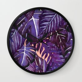 Jungalow Brights - Purple Palm Wall Clock
