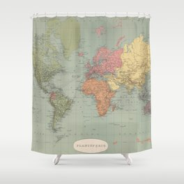 Vintage Map of The World (1889) Shower Curtain
