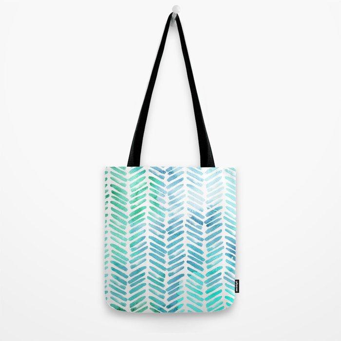 Handpainted Chevron pattern - light green and aqua - stripes #Society6 Tote Bag