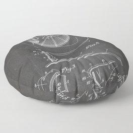 Firemans Helmet Patent - Fire Fighter Art - Black Chalkboard Floor Pillow