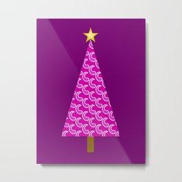 Purple Paisley Retro Modern Christmas Tree Metal Print