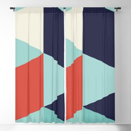 Geometric Triangles - Turquoise Red Blackout Curtain