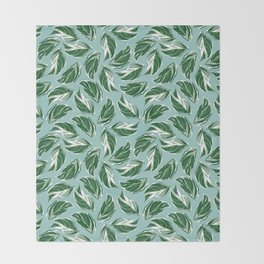 Calathea White Fusion Tropical Houseplant Art Throw Blanket
