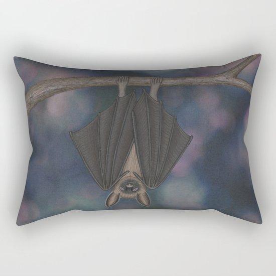 little brown bat asleep on a branch Rectangular Pillow