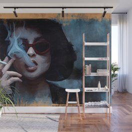 Marla Singer Smokes A Cigarette Behind Sunglasses - Fight Wall Mural