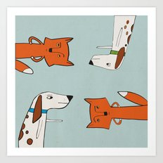 The fox and the hound look disgruntled at one another. Art Print