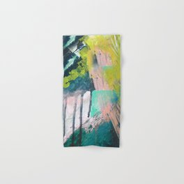 Melt: a vibrant abstract mixed media piece in blues, greens, pink, and white Hand & Bath Towel