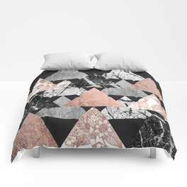 Marble Rose Gold Silver and Floral Geo Triangles Comforters