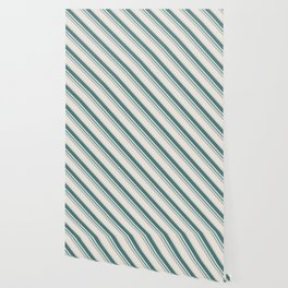 Diagonal Stripes in Teal on Cream Wallpaper