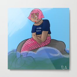 Modern mermaid Metal Print