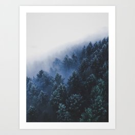 Foggy Blue Purple Mountain hill Pine Trees Landscape Nature Photography Minimalist Modern Art Art Print