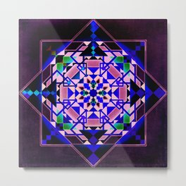 Purple, blue shapes and paterns Metal Print