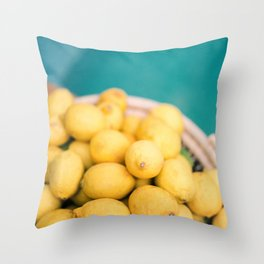 Yellow lemons next to a turquoise pool. | Colorful food photography, tropical feel. Throw Pillow