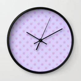 Lavender Violet on Pale Lavender Violet Snowflakes Wall Clock