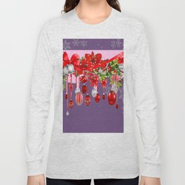 PURPLE WINTER SNOWFLAKES CHRISTMAS DECORATIONS ART ABSTRACT Long Sleeve T-shirt