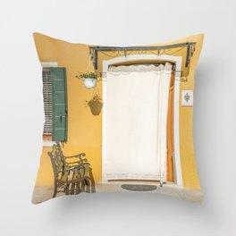 Burano yellow house Throw Pillow