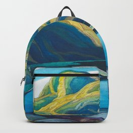Canadian Landscape Oil Painting Franklin Carmichael Art Nouveau Post-Impressionism Lone Lake Backpack