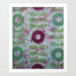 Zinnias in Purple and Green Art Print