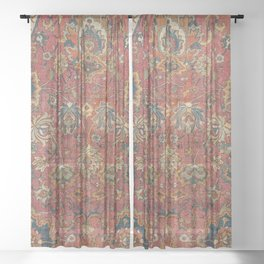 Persian Medallion Rug IV // 16th Century Distressed Red Green Blue Flowery Colorful Ornate Pattern Sheer Curtain
