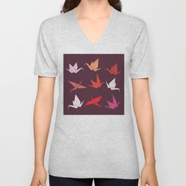 Japanese Origami paper cranes sketch, symbol of happiness, luck and longevity Unisex V-Neck