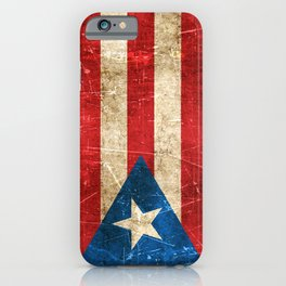 Vintage Aged and Scratched Puerto Rican Flag iPhone Case