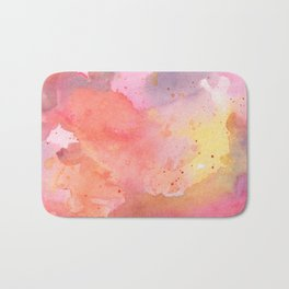 Sunset Color Palette Abstract Watercolor Painting Bath Mat