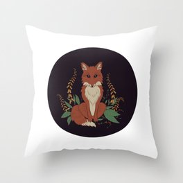 Fox with Foxgloves Throw Pillow