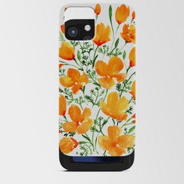 Watercolor California poppies iPhone Card Case