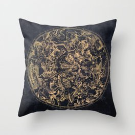 Vintage Constellations & Astrological Signs | Yellowed Ink & Cosmic Colour Throw Pillow