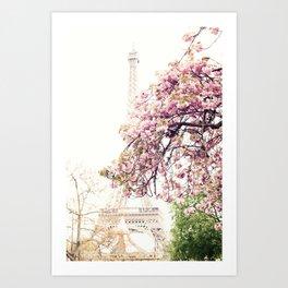 Cherry blossoms in Paris, Eiffel Tower II Art Print