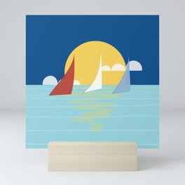 Sun, ocean and sails Mini Art Print