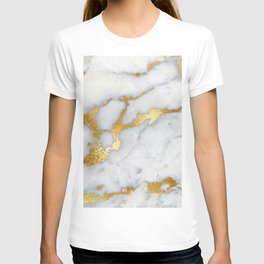 White and Gray Marble and Gold Metal foil Glitter Effect T-shirt