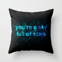 coldplay Throw Pillows featuring Sky Full of Stars by Berlyn Komar
