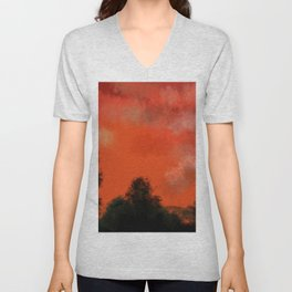 Coral sunrise Unisex V-Neck