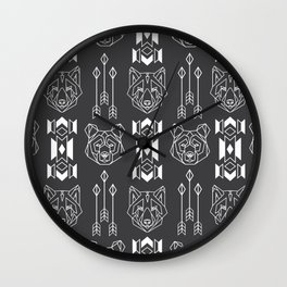 Line style print with wolf and bear totems and native americans culture stylized elemets Wall Clock