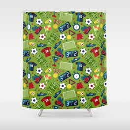 I love football Art print and pattern Shower Curtain
