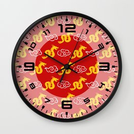 Chinese red gold 3 Wall Clock