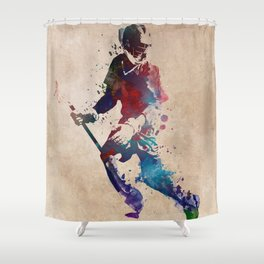 Lacrosse player art 3 Shower Curtain